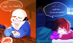 UT fan art - Frisk and Sans Late-night chats