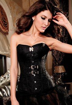 52acaa86d5 Black Lowcut Pteris Jacquard CorsetPQ52842 by HotFasion on Etsy