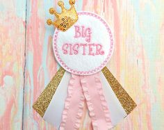 Sister to be corsage Big sister corsage Pink by Fitzthumboutique