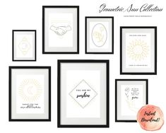 ART PRINT   Geometric Sun Collection   Art Print Sets   Digital Download or Physical Print   B&W, Happy Quote  Wall Art   Home Décor Black Wall Art, Group Art, Decoration, Digital Art, Gallery Wall, Collections, Art Prints, Yellow, Unique Jewelry