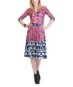 Look at this #zulilyfind! Pink & Navy Blue Floral Filigree Three-Quarter Sleeve Dress by Reborn Collection #zulilyfinds