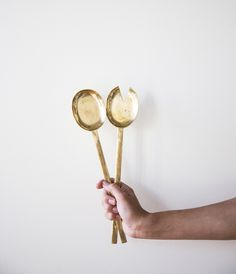 Rose & Fitzgerald — Hand-Forged Brass Serving Spoon Set