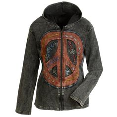 Embroidered Peace Sign Hoodie A hand-pieced, hand-embroidered peace sign adorns the front of a casual hoodie, vintage-washed to look and feel like an old friend. The pieces are accented with decorative hand-stitching. Hippie Style, My Style, Hippie Chick, Bohemian Style, Gypsy, Emo, Feelin Groovy, Hippie Peace, Happy Hippie