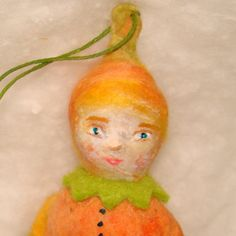 Halloween spun cotton ornament boy in a pumpkin costume. A ooak vintage craft by jejeMae