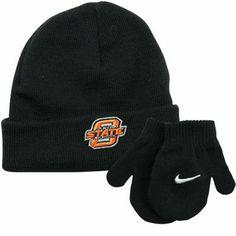 Nike Oklahoma State Cowboys Infant Knit Beanie & Mittens Set - Black