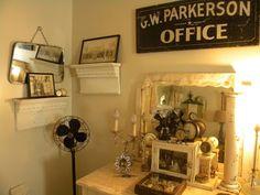 Cheryls * Cottage * Home: Bedroom Tour Architectural Industrial Burlap Chic....