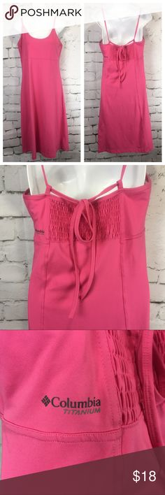 COLUMBIA Sportswear Dress Titanium Omni Shade Women's Pink COLUMBIA Sportswear Dress Titanium Omni Shade Spaghetti Strap Stretchy Size M Shelf Bra Nice Pre-Owned Condition, No Stains, No Holes 