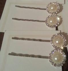 Round Pearl Rhinestone Hair Pins by FrankieBeanz on Etsy, $5.99