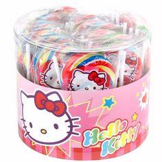 Hello Kitty Handmade Swirl Round Lollipops - 40CT Tub