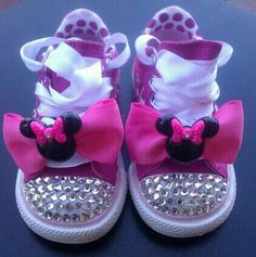 Minnie Mouse Rhinestone Bling  Shoes pumped by PinkToesAndHairBows, $60.00