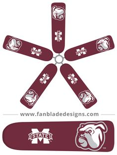 Mississippi State University #Bulldogs. Hey go state! Get your maroon and white on with officially licensed #MSU #ceiling #fan #blade #covers from Fan Blade Designs. They'll keep your ceiling fan clean and your spirit sky high. Show off your loyalty to the #Dogs with a set of #Mississippi Fan Blade Designs today! Made in the USA. $29.99 #gift #present