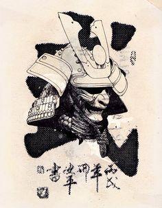 David Foldvari, love this one, so simple and striking Kabuto Samurai, Ronin Samurai, Samurai Helmet, Samurai Armor, Samurai Mask Tattoo, Ronin Tattoo, Samourai Tattoo, Japanese Warrior, Ju Jitsu