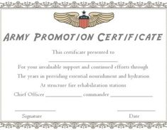 Promotion Certificate Template : Free Templates for Students, Employees & Army - Template Sumo Chief Officer, Warrant Officer, Certificate Templates, Facebook Sign Up, Promotion, Army, Students, Gi Joe, Military