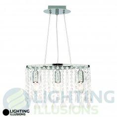 Penelope Chrome Pendant W/ Glass Beads - 3 Light