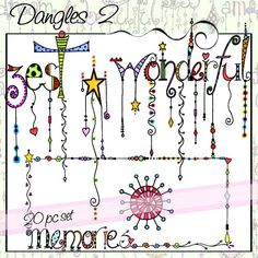 Dangles is a 20 piece set of whimsical watercolored words with colorful dangles.  The words included in this set are:  fantastic, friends, harmony, imagine, kindness, peace, live, relax, wonderful, and zest.