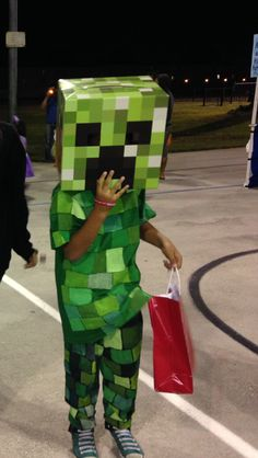 Hand painted green minecraft creeper costume.