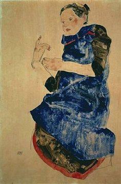 artnet Galleries: Girl in Blue Apron by Egon Schiele from Richard Nagy Ltd.