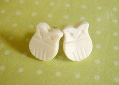 Miniature Plastic Vintage Cream Owl Earring by PumpkinPyeBoutique, $8.50