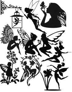 FOR FAIRY LIGHT JARS.Die Cut Silhouette Fairies x 10 (assorted). Ideal for Greeting Cards, Scrapbooking, Fairy Jars & craft projects. They have been cut from quality, double sided black card, which allows you to have the topper facing either way. Mason Jar Crafts, Bottle Crafts, Fairy Silhouette, Fairy Lanterns, Fairy Jars, Fairy Crafts, Disney Fantasy, Creation Deco, Fairy Houses