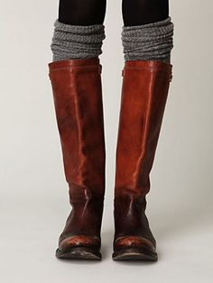 brown riding boots & gray socks