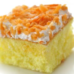 This moist yellow cake recipe is very tasty and easy to do. It has a delicious cream cheese frosting and is garnished with toasted shredded coconut.