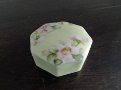 Antique Victorian or Edwardian Hand Painted Porcelain Ring or Trinket Box