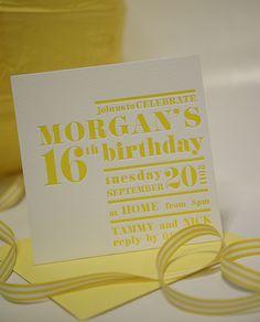 Modern, yellow birthday invitation  www.papyrusdesign.com