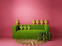 Pantone's colour of the year 2017 Greenery is available across our entire product range | As part of our sustainability project an old IKEA Klippan sofa was given a bright makeover with a Bemz cover in Leaf Brera Lino linen from Designers Guild | rattan rug and cacti vases are our jam | pink backdrop with a bright green sofa