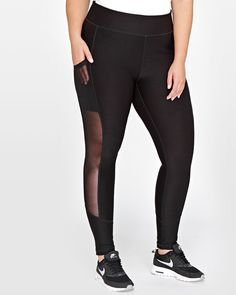 These chic leggings by Nola bring together a stretchy & supportive knit, sexy mesh side inserts, pratical side pockets and elegant diagonal seams for the perfect way to workout in style or revamp your casual outfits. Plus size, wide waistband, side pockets, flat lock seams, 27 inch inseam. Finished with Nola logo at the back.