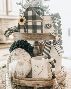 Tiered tray full of gray & white decor for your farmhouse. Tiered tray full of gray & white decor for your farmhouse. Table Farmhouse, Farmhouse Decor, Seasonal Decor, Fall Decor, Holiday Decor, Cosy Home, Tray Styling, Mason Jars, Christmas Decorations