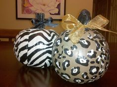 I finally decoupaged pumpkins this weekend. I used Mod Podge to apply tissue paper, painted the stems black & added bows.  The tissue paper can be purchased at Michael's.