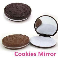 Schminkspiegel Mini Nette Spiegel Kreative Schokolade Cookie Kekse Kompakte Make-up Werkzeug Falten Portable Spiegel Mit Kamm