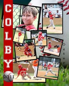 Sports collages are a great way to commemorate accomplishments! Baseball Scrapbook, School Scrapbook, Scrapbook Page Layouts, Scrapbook Cards, Scrapbooking Ideas, Coach Gifts, Team Gifts, Team Photos, Sports Photos