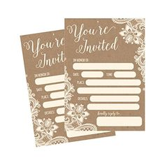 50 Fill In Invitations Burlap and Lace Kraft Wedding Invitations Bridal Shower Invitations Rehearsal Dinner Dinner Invites Baby Shower Invite Bachelorette Party Invites Engagement Graduation -- You can get additional details at the image link.-It is an affiliate link to Amazon. #WeddingInvitationCards