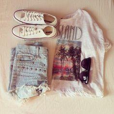 ♥ Sunglasses ♥ Beach print tee ♥ Studded light wash denim shorts ♥ White converse