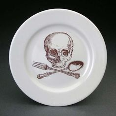 Skulls and Crossbones on Plates and Cups #kitchen trendhunter.com