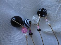 Pink Black and White Wine Charms Set of 4 by ThereIsNoOneLikeYou, $20.00