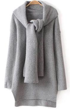 Jersey punto cuello pico asimétrico manga larga-gris 29.70