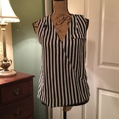 Top Black and white faux wrap with lace back and fake front pocket Candie's Tops Blouses