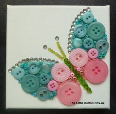 10x10cm Aqua Blue and Pink Butterfly Button picture