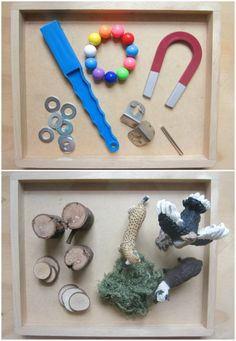 Reggio activités for toddlers. All different play tray ideas.