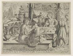 Bartholomeus Willemsz. Dolendo   Vrolijk gezelschap aan tafel (Het wereldse leven van Maria Magdalena), Bartholomeus Willemsz. Dolendo, Pieter Goos, c. 1580 - c. 1620   Maria Magdalena  is voorgesteld in een vroeg 16de-eeuws kostuum, een halo om het hoofd. Zij zit aan een tafel met voedsel, in gezelschap van twee mannen en een vrouw. Naast de tafel staan twee diensters. De zittende vrouw speelt luit, terwijl een man een liedboek vasthoudt en zingt. In de achtergrond is de ten hemel opneming…