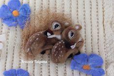 Needle felted fawn Bambi Felt brooch needle felted animal