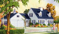 cape-cod-house-with-cupola and white picket fence