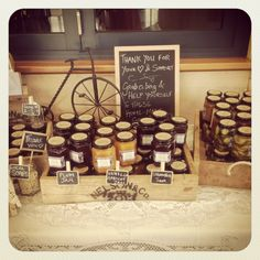Vintage rustic country wedding styling handmade original country stall favors