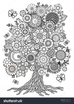Blossom Tree. Coloring Book For Adult. Doodles For Meditation.398854228 : Shutterstock