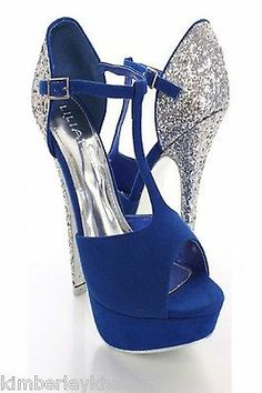 NEW ROYAL BLUE/GRAY/MUSTARD YELLOW HIGH HEEL PLATFORM STILETTO