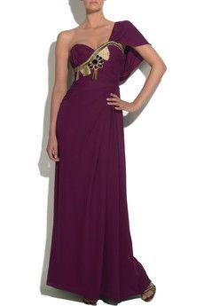 purple long dress, one shoulder