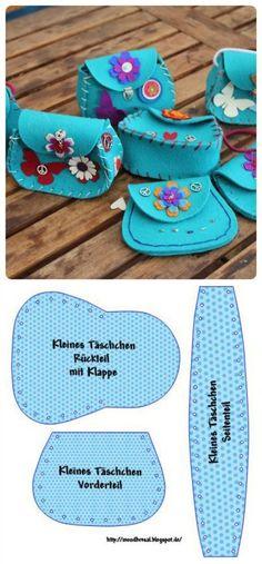 Mini tasjes van Vilt. Leuk om zelf te maken. Gebruik bv 3mm dik Vilt TREND voor een ideale basis. Kijk op de site www.bijviltenzo.nl voor alle viltkleuren: