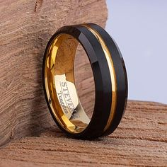 Tungsten Carbide Ring Style Wedding Band 8mm Wide Flat with Double Row Natural Hawaiian Koa Wood Inlay Comfort Fit TCR092